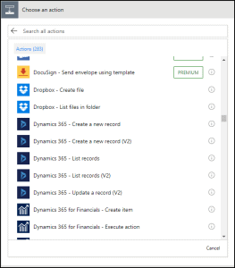 Microsoft Flow Choose an Action