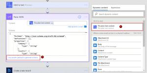 Microsoft Flow Parse JSON Action