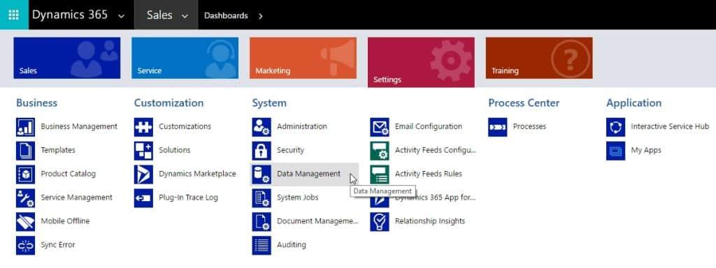 Dynamics 365 Data Management Menu