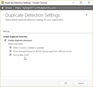 Dynamics 365 Duplicate Detection Settings
