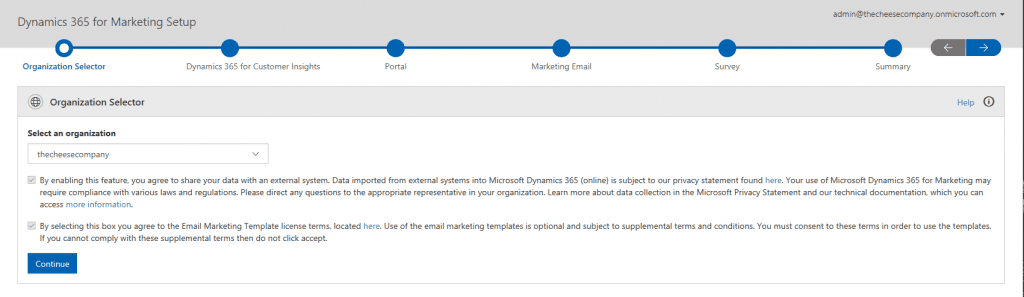 Dynamics 365 for Marketing First Run Experience P2