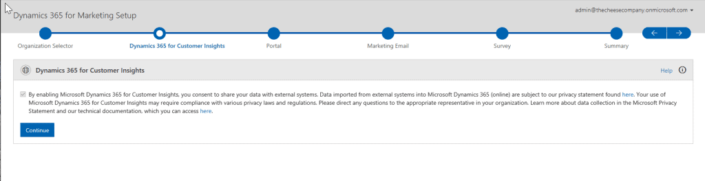 Dynamics 365 for Marketing First Run Experience P3