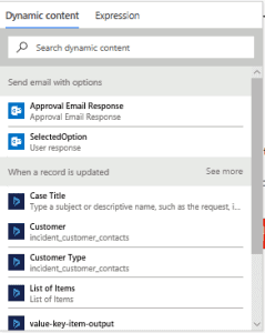Microsoft Flow Selected Option 2