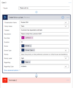 Microsoft Flow Request a call back