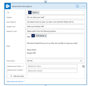Microsoft Flow Send Email with Options Step