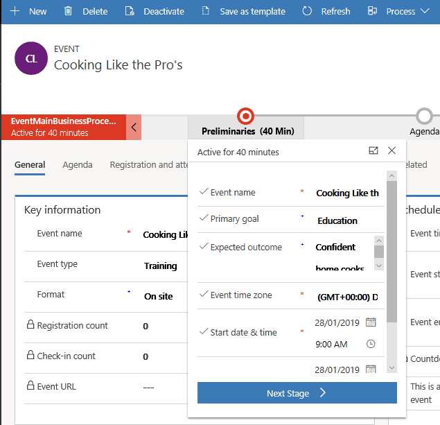 The process bar on Dynamics 365 for Marketing