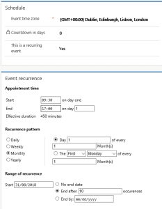 Schedule Section for recurring events on Dynamics 365 for Marketing