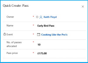 D365 For marketing Quick Create Form for a pass