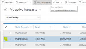 Sales Forecasting P16 showing the included opportunities on a forecast line