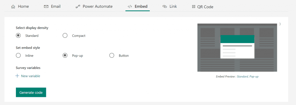 Forms Pro embed layout options with pop selected
