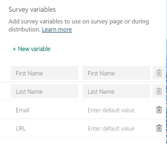 Forms Pro survey variables grid