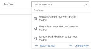 Field with drop down list of tours