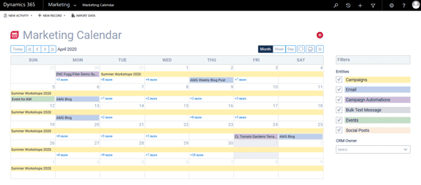 ClickDimensions Marketing Calendar