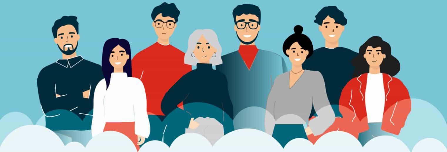 CRM Team - Group of cartoon people