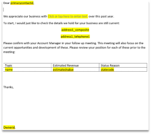 Highlighted fields in Dynamcis 365 Word Template