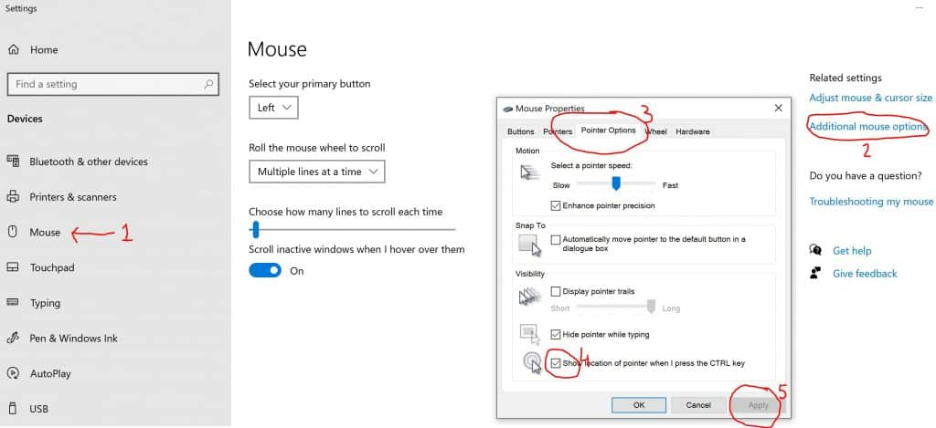 Cursor Settings in Windows