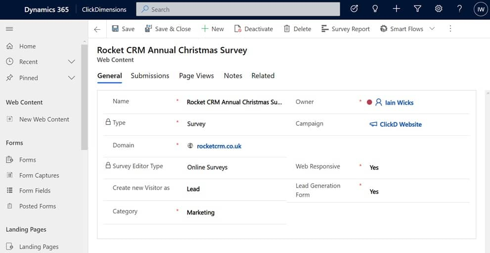 Creating ClickDimensions Online Survey