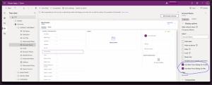 Main Form Dialog settings